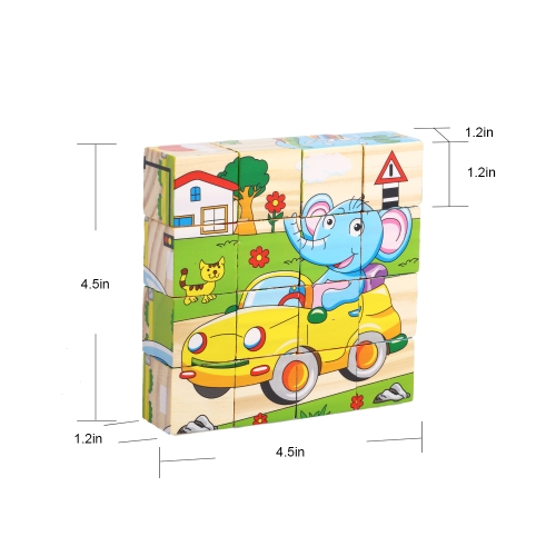 Wooden Jigsaw Puzzle 6 Sides 3D Cube Cartoon Puzzle Building Block Early Educational Develoment Toys Gifts for KidsHome &amp; Garden<br>Wooden Jigsaw Puzzle 6 Sides 3D Cube Cartoon Puzzle Building Block Early Educational Develoment Toys Gifts for Kids<br>