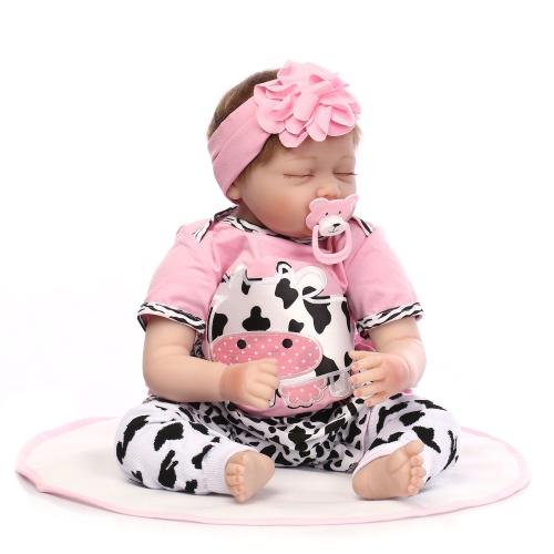 22インチ55センチメートルシリコーン生まれ変わりの幼児の赤ちゃんの人形の女の子眠る人形のボネカと服の青い目のようなかわいいかわいいギフトおもちゃ