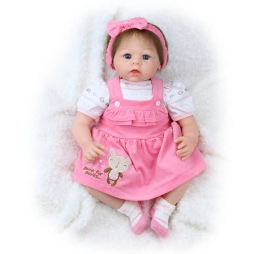 22inch 55cm Reborn Baby Doll Girl PP filling Silicone With Clothes Feeding Bottle Lifelike Cute Gifts Toy