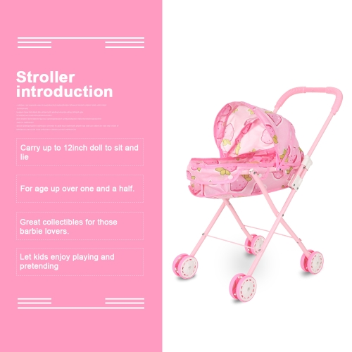 Baby Infant Doll Stroller Carriage Foldable With Doll For 12inch Doll Barbie Mini Stroller Toys Gift PinkHome &amp; Garden<br>Baby Infant Doll Stroller Carriage Foldable With Doll For 12inch Doll Barbie Mini Stroller Toys Gift Pink<br>
