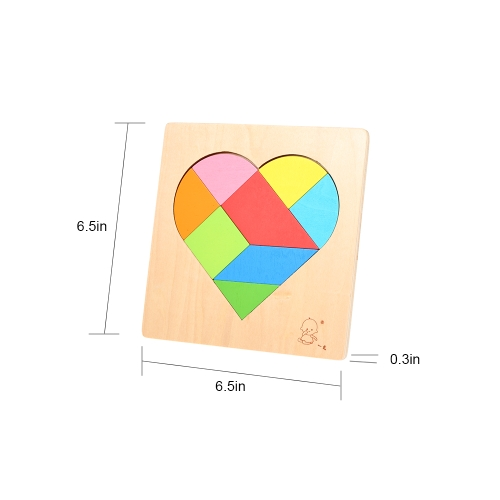 Wooden Jigsaw Puzzle Heart-Shaped Board Tangram Early Educational Develoment Toys Gifts for KidsHome &amp; Garden<br>Wooden Jigsaw Puzzle Heart-Shaped Board Tangram Early Educational Develoment Toys Gifts for Kids<br>