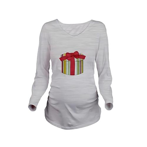 Maternity Shirt Long Sleeve Pregnancy Mom Tops Tee Christmas Santa White LHome &amp; Garden<br>Maternity Shirt Long Sleeve Pregnancy Mom Tops Tee Christmas Santa White L<br>