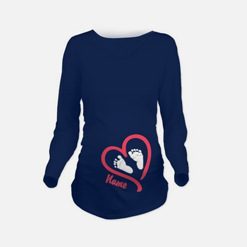 Maternity Shirt Long Sleeve O-Neck Footprint Funny Pregnancy Mom Tops Tee White LHome &amp; Garden<br>Maternity Shirt Long Sleeve O-Neck Footprint Funny Pregnancy Mom Tops Tee White L<br>