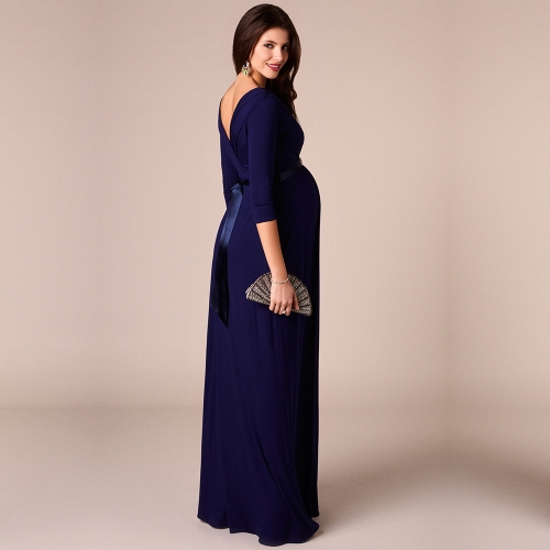 Women Maternity Dress Robe Ruched V-Neck 3/4 Sleeve Nursing Pregnancy Clothes With Belt Blue SHome &amp; Garden<br>Women Maternity Dress Robe Ruched V-Neck 3/4 Sleeve Nursing Pregnancy Clothes With Belt Blue S<br>