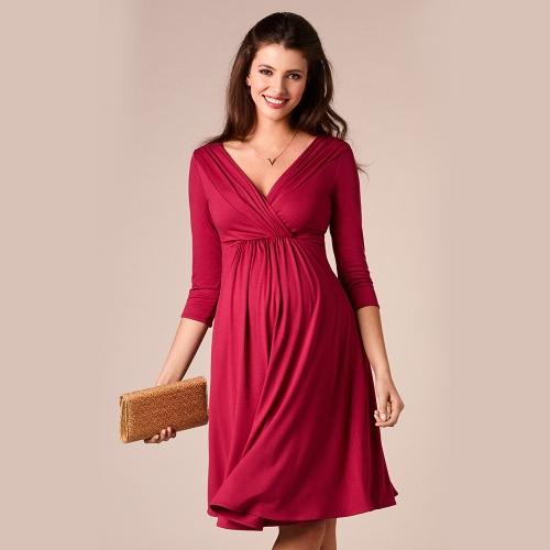 Women Maternity Dress Robe Ruched V-Neck 3/4 Sleeve Nursing Pregnancy Clothes Dark Blue SHome &amp; Garden<br>Women Maternity Dress Robe Ruched V-Neck 3/4 Sleeve Nursing Pregnancy Clothes Dark Blue S<br>