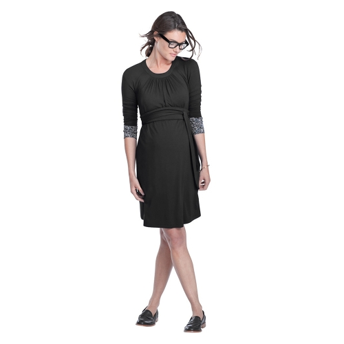 Women Maternity Dress Ruched Robe Round Neck 3/4 Sleeve Pregnancy Clothes With Belt Black SHome &amp; Garden<br>Women Maternity Dress Ruched Robe Round Neck 3/4 Sleeve Pregnancy Clothes With Belt Black S<br>
