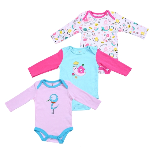 3pcs Baby Clothes Set Rompers Set For Girl 100% Cotton Long Sleeve Rompers Baby Clothing Jumpsuit House Pattern 3MHome &amp; Garden<br>3pcs Baby Clothes Set Rompers Set For Girl 100% Cotton Long Sleeve Rompers Baby Clothing Jumpsuit House Pattern 3M<br>