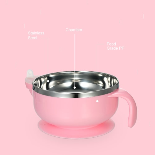 Baby Feeding Bowl Double Layer Anti-Scald Bowl With  Water Chamber Lid &amp; Stay-Put Suction Base Stainless Steel For Baby Toddler PiHome &amp; Garden<br>Baby Feeding Bowl Double Layer Anti-Scald Bowl With  Water Chamber Lid &amp; Stay-Put Suction Base Stainless Steel For Baby Toddler Pi<br>