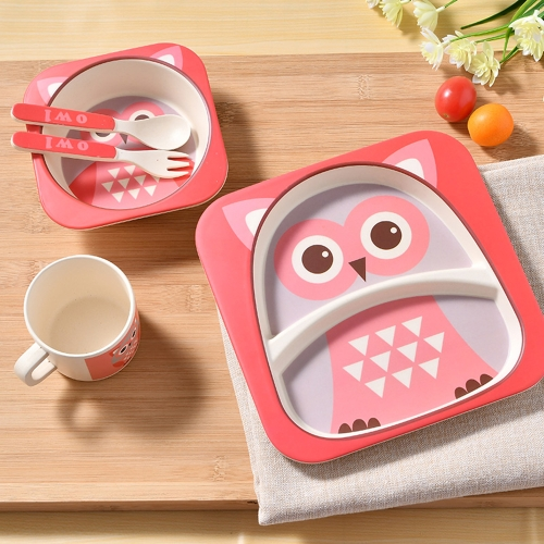 5Pcs Kids Tableware Set Bamboo Fiber Dinnerware Meal Feeding Plate+Bowl+Cup +Spoon+Fork Pink OwlHome &amp; Garden<br>5Pcs Kids Tableware Set Bamboo Fiber Dinnerware Meal Feeding Plate+Bowl+Cup +Spoon+Fork Pink Owl<br>