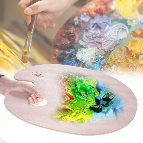 Classic Handheld Oval Wood Palette Art Paint Mixing Tray 40*30cm/15.75*11.81inComputer &amp; Stationery<br>Classic Handheld Oval Wood Palette Art Paint Mixing Tray 40*30cm/15.75*11.81in<br>