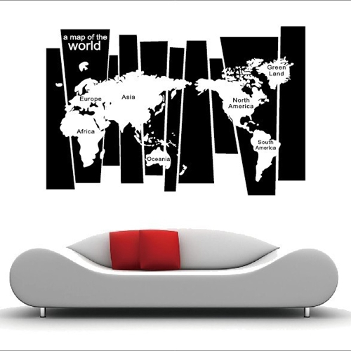 Black &amp; White World Map Wall Sticker Irregular Map Decal PVC Mural Art Decor for Bedroom/Living Room/Hallway/OfficeComputer &amp; Stationery<br>Black &amp; White World Map Wall Sticker Irregular Map Decal PVC Mural Art Decor for Bedroom/Living Room/Hallway/Office<br>