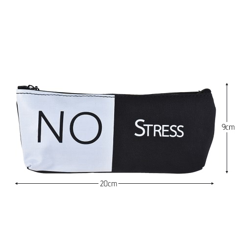 Simple Black&amp;White Canvas Pencil Bag Case Zippered Large Capacity School Stationery Office Supplies Gift for StudentsComputer &amp; Stationery<br>Simple Black&amp;White Canvas Pencil Bag Case Zippered Large Capacity School Stationery Office Supplies Gift for Students<br>
