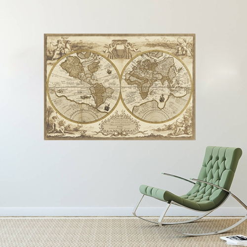 Wall Sticker Retro World Map Vintage Nautical Map Removable Wall Decal Antique Home Decor for Bedroom/Living Room/Hallway/OfficeComputer &amp; Stationery<br>Wall Sticker Retro World Map Vintage Nautical Map Removable Wall Decal Antique Home Decor for Bedroom/Living Room/Hallway/Office<br>