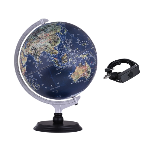 USB 2 in 1 LED Desktop World Globe Tellurion Daytime View Satellite Image Night View Illuminated Political Map with Stand for OffiComputer &amp; Stationery<br>USB 2 in 1 LED Desktop World Globe Tellurion Daytime View Satellite Image Night View Illuminated Political Map with Stand for Offi<br>