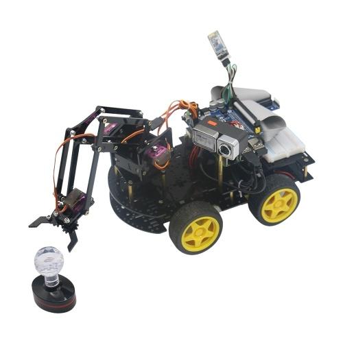 WiFi Smart Video Car Kit with Robotic Mechanical DIY Arm Clamp HD Camera Lens