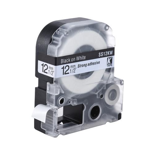 Preto na fita de etiqueta branca 12mm * 8m compatível para a impressora de etiquetas Kingjim Epson LW400 / LW600 / SR230C / SR230CH / SR530C / SR550C