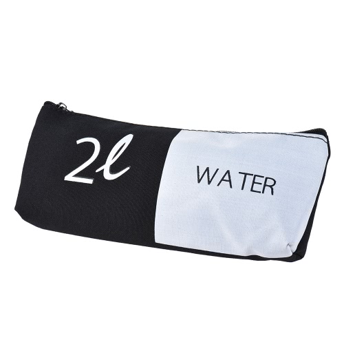 Simple Black&White Canvas Pencil Bag Case Zippered Large Capacity School Stationery Office Supplies Gift for Students