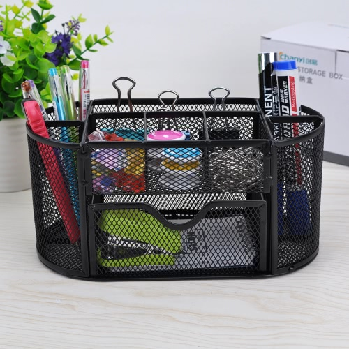 9 Storage Compartments Multi-functional Mesh Desk Organizer Pen Holder Stationery Storage Container Box Collection Office School SComputer &amp; Stationery<br>9 Storage Compartments Multi-functional Mesh Desk Organizer Pen Holder Stationery Storage Container Box Collection Office School S<br>