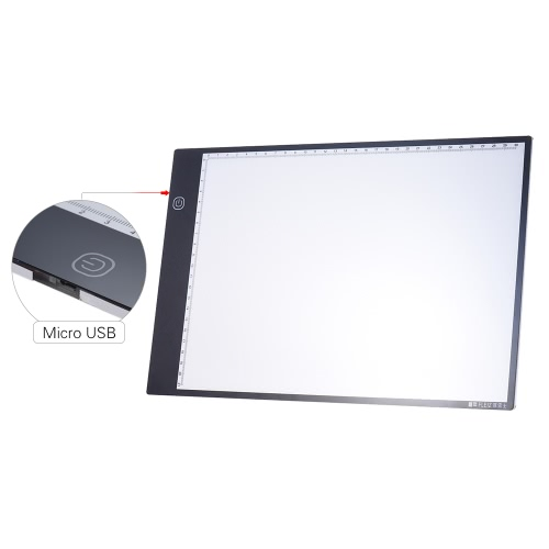 Portable A4 LED Light Box Drawing Tracing Tracer Copy Board Table Pad Panel Copyboard with 3-mode Brightness Black Edge Scale forComputer &amp; Stationery<br>Portable A4 LED Light Box Drawing Tracing Tracer Copy Board Table Pad Panel Copyboard with 3-mode Brightness Black Edge Scale for<br>