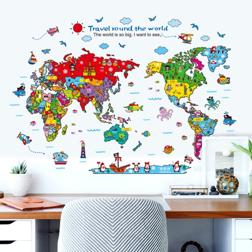 Colorful World Map Wall Sticker Cartoon Kids Room Decal PVC Mural Art Decor for Children Bedroom/Living Room/Hallway/OfficeComputer &amp; Stationery<br>Colorful World Map Wall Sticker Cartoon Kids Room Decal PVC Mural Art Decor for Children Bedroom/Living Room/Hallway/Office<br>