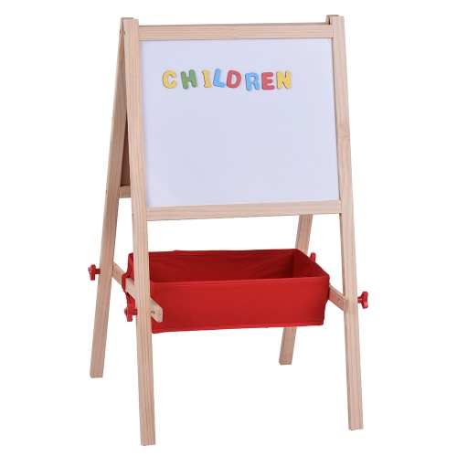 Kids Wooden Art Easel Chalkboard White Drawing Board Dual-sided Magnetic Education Board with Magnetic Letters Marker Pen Chalks SComputer &amp; Stationery<br>Kids Wooden Art Easel Chalkboard White Drawing Board Dual-sided Magnetic Education Board with Magnetic Letters Marker Pen Chalks S<br>