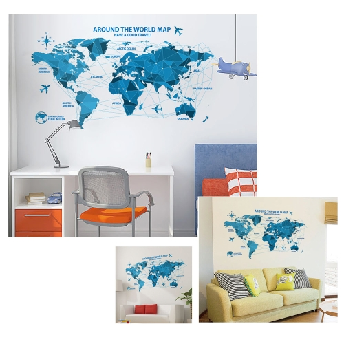 Blue World Map Removable Wall Sticker PVC Mural Art Decal for Kids Room/ Kindergarten/Classroom/Playroom/Living Room/OfficeComputer &amp; Stationery<br>Blue World Map Removable Wall Sticker PVC Mural Art Decal for Kids Room/ Kindergarten/Classroom/Playroom/Living Room/Office<br>