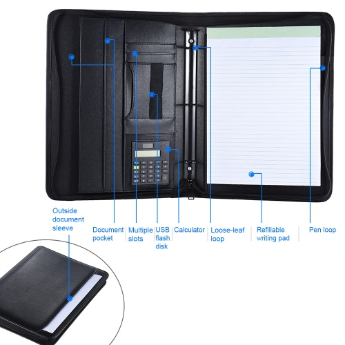 Multifunctional Professional Business Portfolio Padfolio Folder Document Case Organizer A4 PU Leather Zippered Closure Loose-leafComputer &amp; Stationery<br>Multifunctional Professional Business Portfolio Padfolio Folder Document Case Organizer A4 PU Leather Zippered Closure Loose-leaf<br>