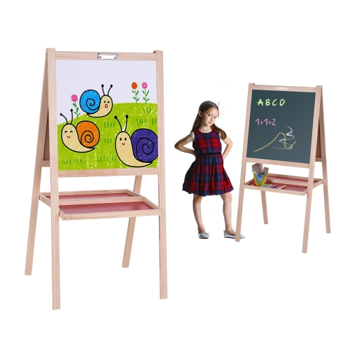 Aibecy Folding Kids Wooden Art Easel Chalkboard White Drawing Board Dual-sided Magnetic Education Board with Storage TrayComputer &amp; Stationery<br>Aibecy Folding Kids Wooden Art Easel Chalkboard White Drawing Board Dual-sided Magnetic Education Board with Storage Tray<br>
