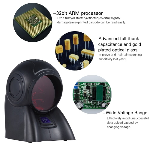 Omni-directional 20 Lines 1D USB Orbit Barcode Scanner Reader Auto Scanning 1800t/s Speed 30° Adjustable HeadComputer &amp; Stationery<br>Omni-directional 20 Lines 1D USB Orbit Barcode Scanner Reader Auto Scanning 1800t/s Speed 30° Adjustable Head<br>
