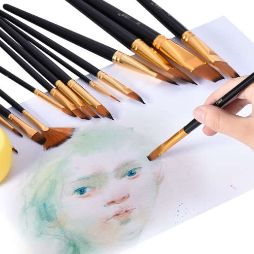 Professional Artist Paint Brush Kit Including 15pcs Nylon Hair Short Handle Watercolor Acrylic Gouache Oil Painting Brushes with PComputer &amp; Stationery<br>Professional Artist Paint Brush Kit Including 15pcs Nylon Hair Short Handle Watercolor Acrylic Gouache Oil Painting Brushes with P<br>