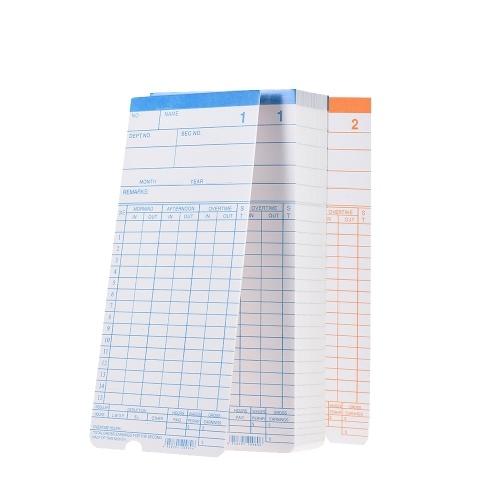 90 pcs / Pack Cartes de Temps Timecards Mensuelle 2-sided 18 * 8.4 cm pour Employé Présence Heure Horloge Enregistreur