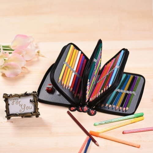 Multifunctional Large Capacity Painting Cosmetic Pencil Pen Brush Bag Case Box 4 Layer Zipper 72 Holders with Carrying HandleComputer &amp; Stationery<br>Multifunctional Large Capacity Painting Cosmetic Pencil Pen Brush Bag Case Box 4 Layer Zipper 72 Holders with Carrying Handle<br>
