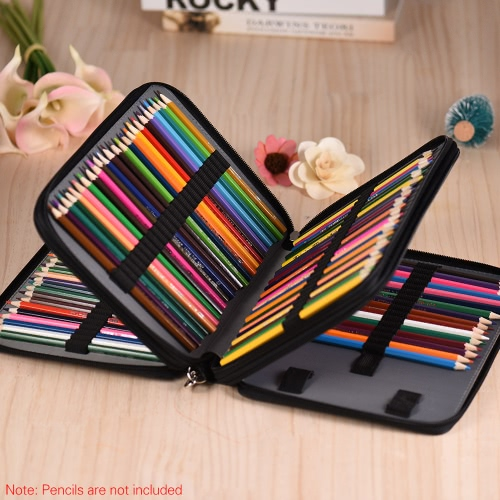 136 Slots Color Pencil Case Multi-functional Bag Pu Leather Zippered Portable with Handle Strap