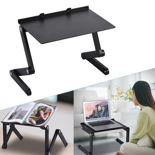 Support pliable de table d'ordinateur portable aéré le plateau de tour de lit de bureau d'ordinateur 360 degrés réglable en alliage d'aluminium