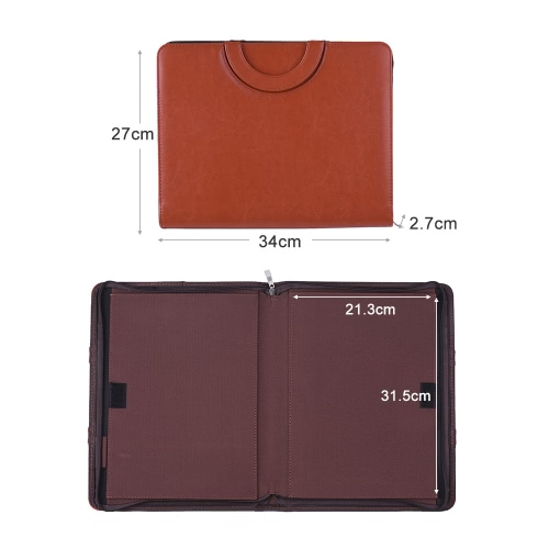 PU A4 File Zipper Manager Brief Case Document Folder Organizer Business Office Portfolio Data Pocket Holder w/ Magnetic HandleComputer &amp; Stationery<br>PU A4 File Zipper Manager Brief Case Document Folder Organizer Business Office Portfolio Data Pocket Holder w/ Magnetic Handle<br>