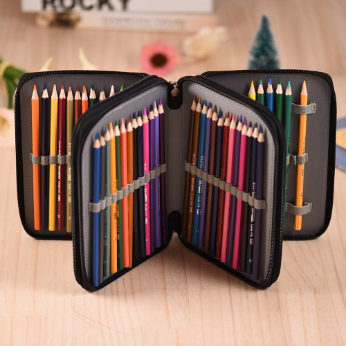 72 Slots Zippered Color Pencil Case Portable Pencil Bag with Handle Strap Large Capacity PU LeatherComputer &amp; Stationery<br>72 Slots Zippered Color Pencil Case Portable Pencil Bag with Handle Strap Large Capacity PU Leather<br>