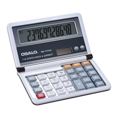 Folding Desktop Electronic Calculator 12 Digits 112 Steps Check &amp; Correct Battery &amp; Solar Dual Powered Larger Display for Home SchComputer &amp; Stationery<br>Folding Desktop Electronic Calculator 12 Digits 112 Steps Check &amp; Correct Battery &amp; Solar Dual Powered Larger Display for Home Sch<br>