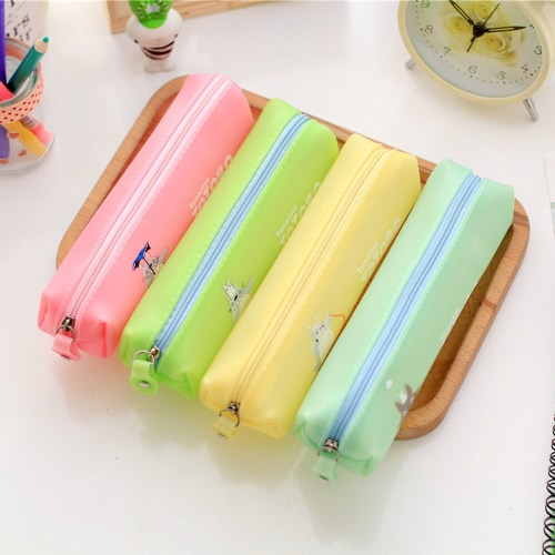 Cute Jelly Soft Waterproof Pen Pencil Case Zipper Stationery Bag Lovely Cat Pattern for Girls School StudentsComputer &amp; Stationery<br>Cute Jelly Soft Waterproof Pen Pencil Case Zipper Stationery Bag Lovely Cat Pattern for Girls School Students<br>