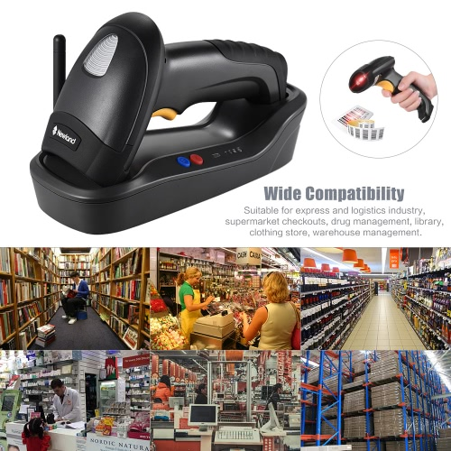 Wireless Handheld 1D/2D(PDF417/MicroPDF417) Barcode Scanner Bar Code Reader with Base USB Cable for Supermarket Library Express CoComputer &amp; Stationery<br>Wireless Handheld 1D/2D(PDF417/MicroPDF417) Barcode Scanner Bar Code Reader with Base USB Cable for Supermarket Library Express Co<br>