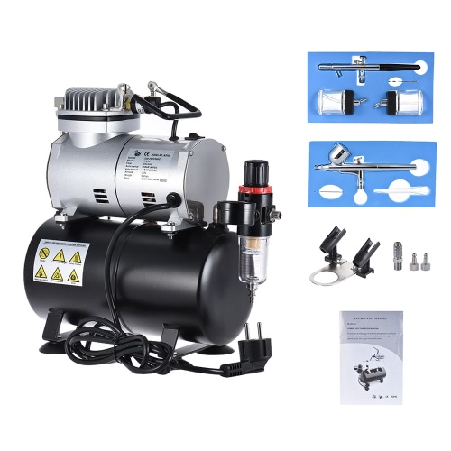 Professional Airbrush Air Compressor Kit with Dual-action Gravity Feed Airbrush&amp; Suction Feed Airbrush for Model Tattoo Makeup CakComputer &amp; Stationery<br>Professional Airbrush Air Compressor Kit with Dual-action Gravity Feed Airbrush&amp; Suction Feed Airbrush for Model Tattoo Makeup Cak<br>