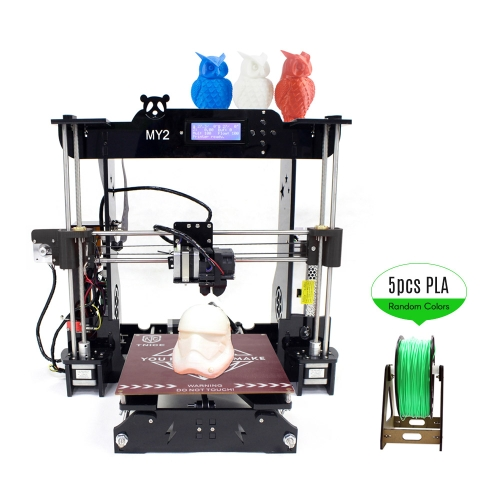 TNICE MY2 Desktop RepRap i3 3D Printer DIY Kit ST Mainboard Integrated Extruder 2004 LCD Display Acrylic Frame with 100m PLA Filament Work with ABS PLA Wood