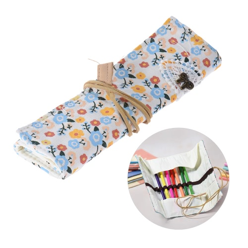 Flower Pattern Canvas Roll Up Makeup Cosmetic Brushes Pen Pencil Bag Case Holder Pouch Stationery Gift for   Girls StudentsComputer &amp; Stationery<br>Flower Pattern Canvas Roll Up Makeup Cosmetic Brushes Pen Pencil Bag Case Holder Pouch Stationery Gift for   Girls Students<br>