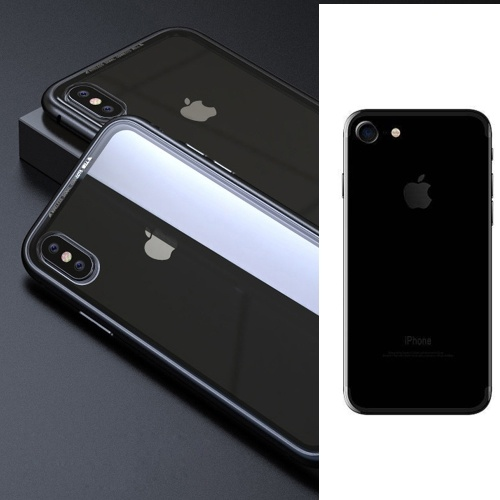透明なブラックメタルリムジン電話バンパーケース、iPhone 7用