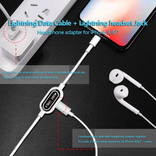 Lightning Charging & Data Cable with Lightning Headset Jack for iPhone X 8 8 Plus 7 Plus Sync with Music Play & Charging Data Tran
