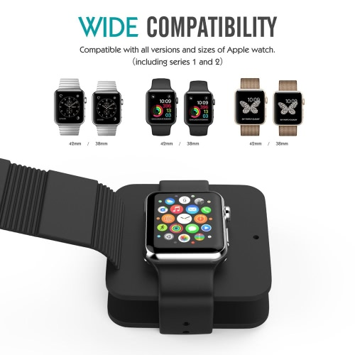Portable Charging Wallet for Apple Watch Series 1/2 Soft Silicone Charge Holder Stand Charging Dock Station Protective Storage CarCellphone &amp; Accessories<br>Portable Charging Wallet for Apple Watch Series 1/2 Soft Silicone Charge Holder Stand Charging Dock Station Protective Storage Car<br>