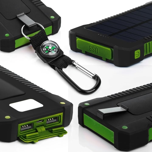 8000mAh Solar Energy Panel Charger LED Light Double USB Ports Large Capacity Rechargeable Waterproof Non Slip Power Bank PortableCellphone &amp; Accessories<br>8000mAh Solar Energy Panel Charger LED Light Double USB Ports Large Capacity Rechargeable Waterproof Non Slip Power Bank Portable<br>