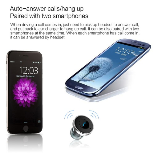 OVEVO Q10 2-in-1 Vehicle-mounted Bluetooth Headset + Car Charger Dual USB Headphone Earphone IC Chip for iPhone 6S 6S Plus iOS AndCellphone &amp; Accessories<br>OVEVO Q10 2-in-1 Vehicle-mounted Bluetooth Headset + Car Charger Dual USB Headphone Earphone IC Chip for iPhone 6S 6S Plus iOS And<br>