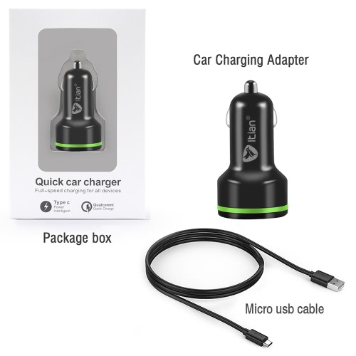 Itian K5 Dual-port High-Speed Car Charger Qualcomm Quick Charge 2.0 + Type C for Android iPhoneCellphone &amp; Accessories<br>Itian K5 Dual-port High-Speed Car Charger Qualcomm Quick Charge 2.0 + Type C for Android iPhone<br>