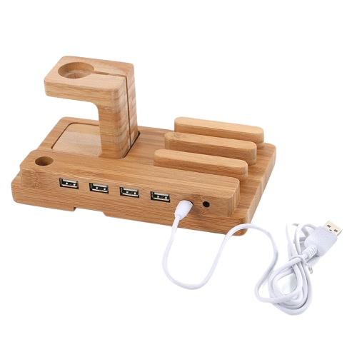 All in 1 Bamboo Charging Stand Holder 4 USB for Apple Watch iWatch 38mm 42mm for iPhone 6 6S 6 Plus 6S Plus Samsung Galaxy S6 S7 eCellphone &amp; Accessories<br>All in 1 Bamboo Charging Stand Holder 4 USB for Apple Watch iWatch 38mm 42mm for iPhone 6 6S 6 Plus 6S Plus Samsung Galaxy S6 S7 e<br>