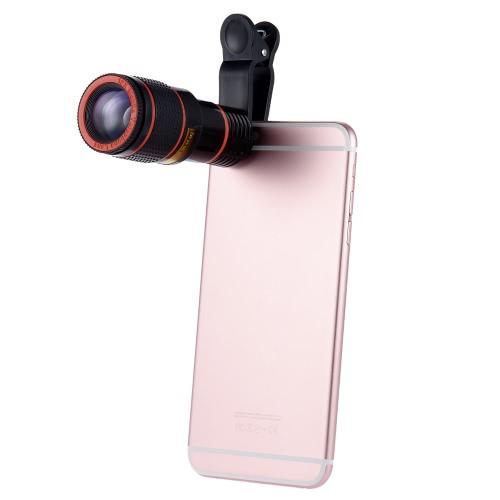 Universale zoom 12x Cellulare clip-on Telescope Camera Lens per iPhone 6S 6 più Samsung S7 S6 Smartphone bordo